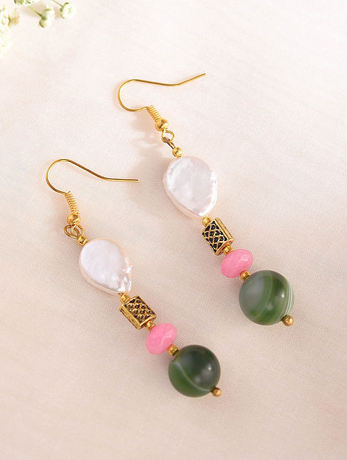 Multicolored Handcrafted Earrings With Pearls Chalcedony Agate
