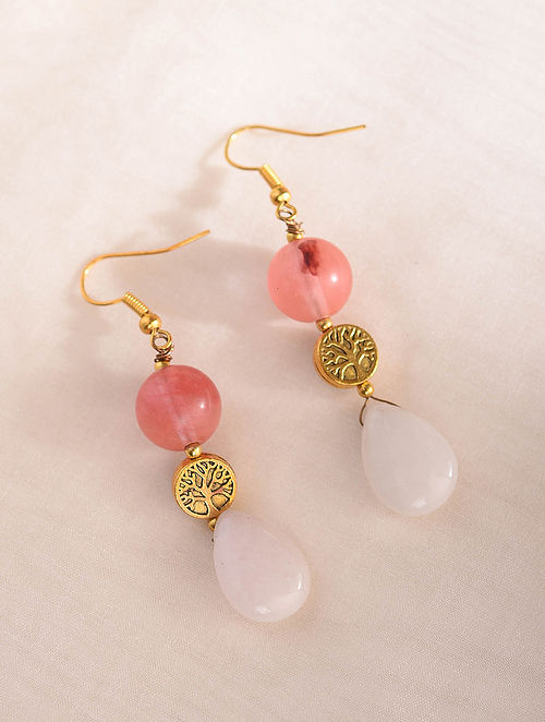 Pink White Handcrafted Earrings With Quartz