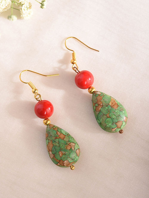 Turquoise Red Handcrafted Earrings With Coral