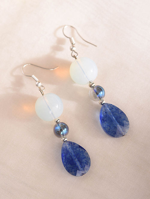 Blue Handcrafted Earrings With Crystal