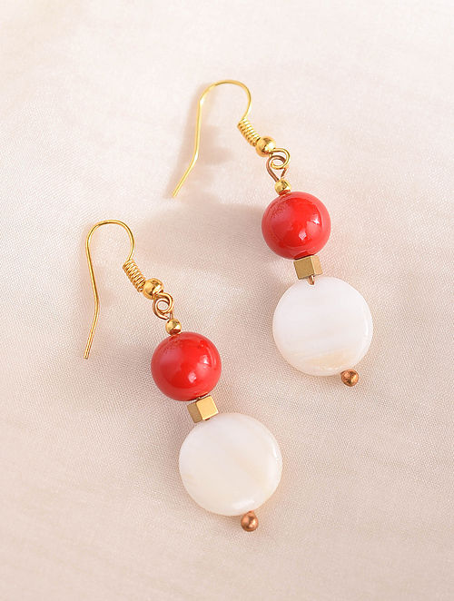 Red White Handcrafted Earrings With Pearls And Coral