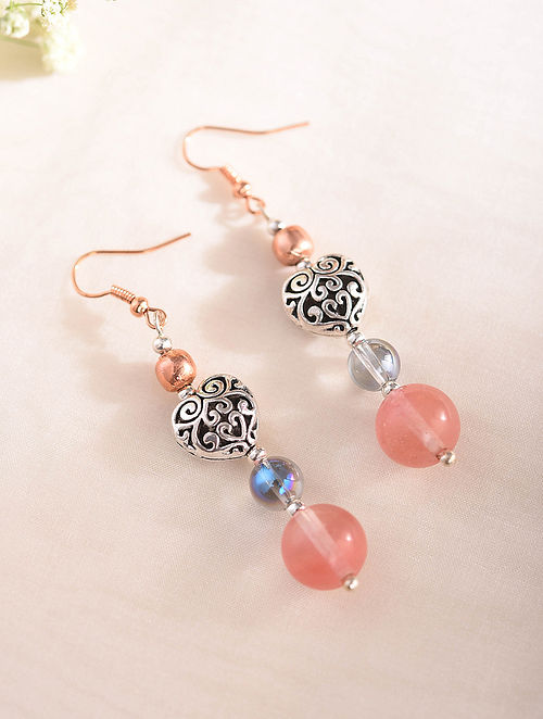 Pink Silver Tone Handcrafted Earrings With Quartz And Chalcedony