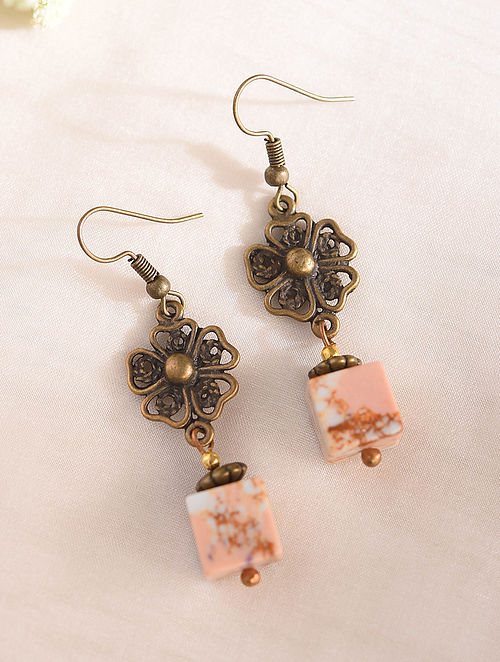 Pink Handcrafted Earrings With Sea Sediment Jasper