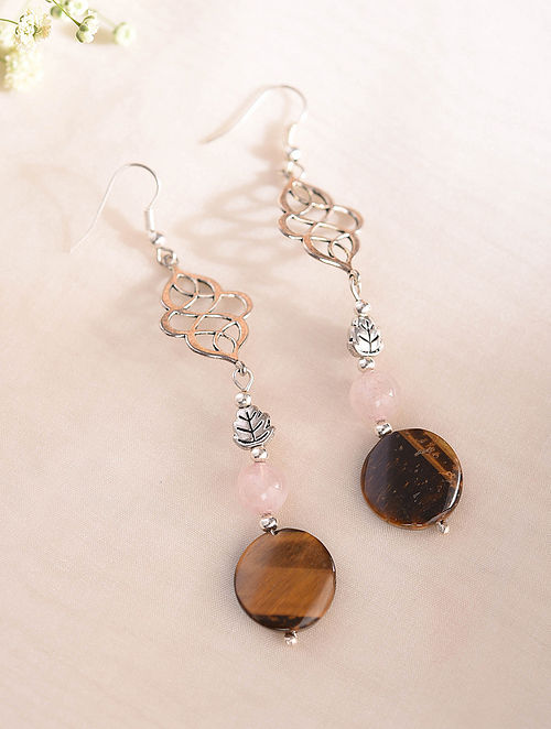 Brown Pink Silver Tone Handcrafted Earrings With Tiger Eye And Rose Quartz