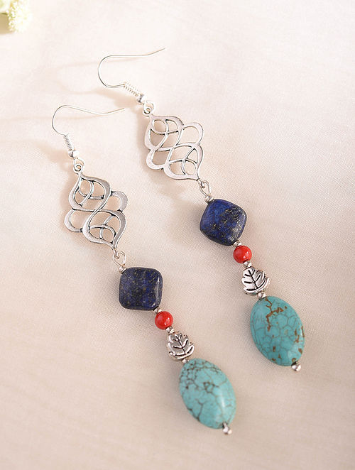 Blue Silver Tone Handcrafted Earrings With Turquoise Coral And Lapis Lazuli