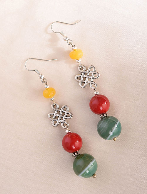 Multicolored Silver Tone Handcrafted Earrings With Agate Coral And Onyx