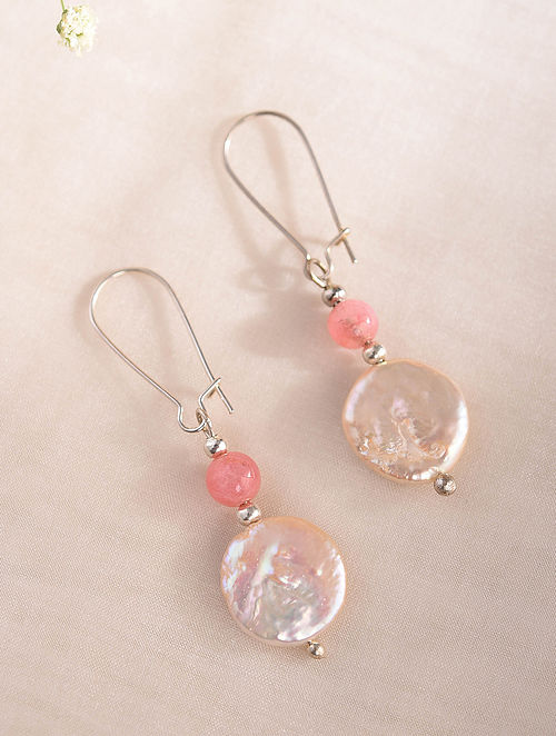Pink Handcrafted Earrings With Jade And Pearls