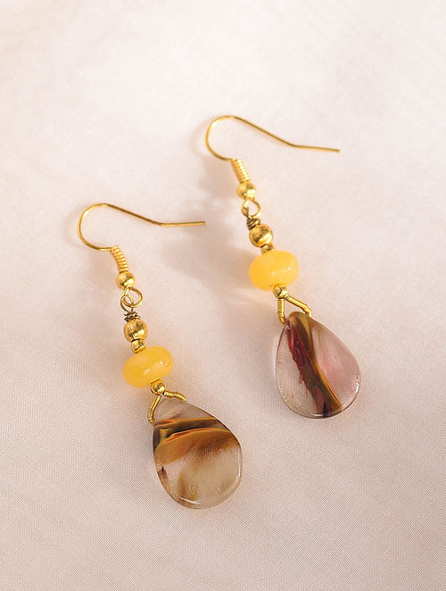Brown Yellow Handcrafted Earrings With Quartz And Onyx