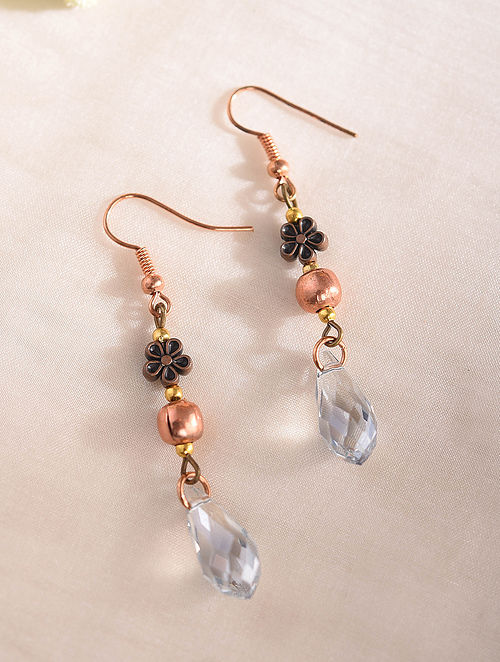 White Handcrafted Earrings With Crystal