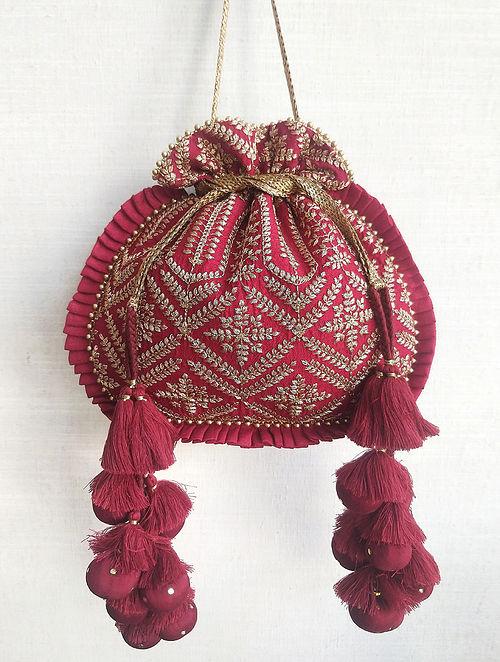 Maroon Embroidered Poly Silk Potli