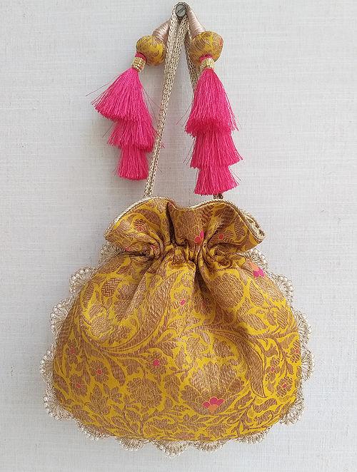 Yellow Handcrafted Benarasi Silk Potli