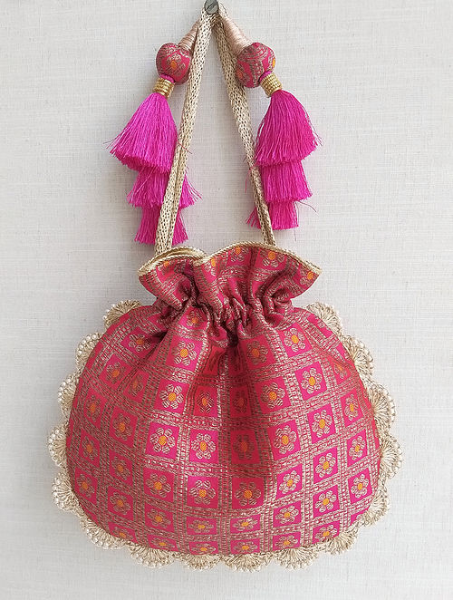 Pink Handcrafted Benarasi Silk Potli