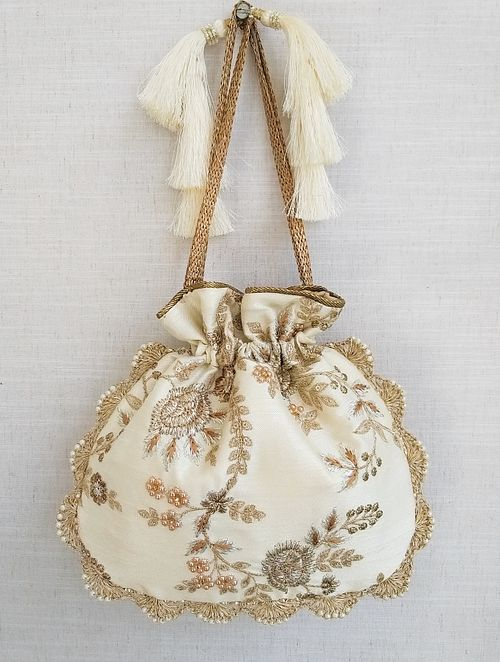 Off White Embroidered Silk Potli