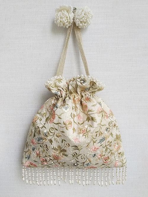 Cream Embroidered Silk Potli