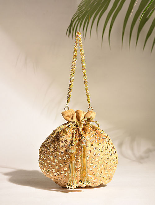 Gold Handcrafted Sequinned Silk Potli