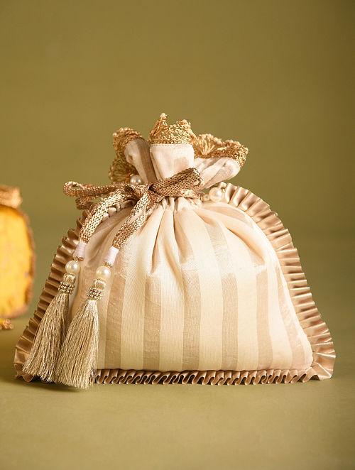 Off White Handcrafted Chanderi Silk Potli