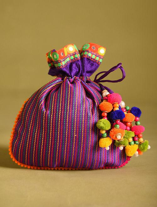 Purple Hand Embroidered Dupion Silk Potli
