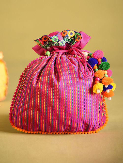 Pink Hand Embroidered Dupion Silk Potli