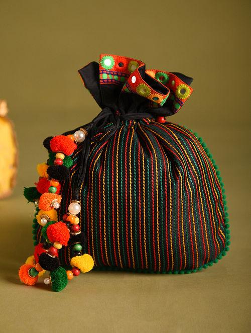 Black Hand Embroidered Dupion Silk Potli