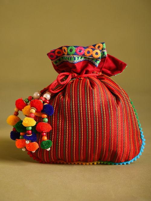 Red Hand Embroidered Dupion Silk Potli