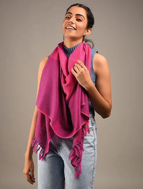 Pink Handwoven Wool Stole
