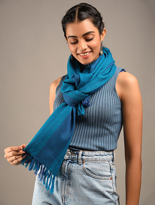 Blue Handwoven Wool Stole