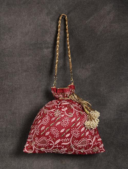 Red Handcrafted Chikankari Silk Potli