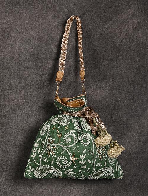 Green Handcrafted Chikankari Silk Potli
