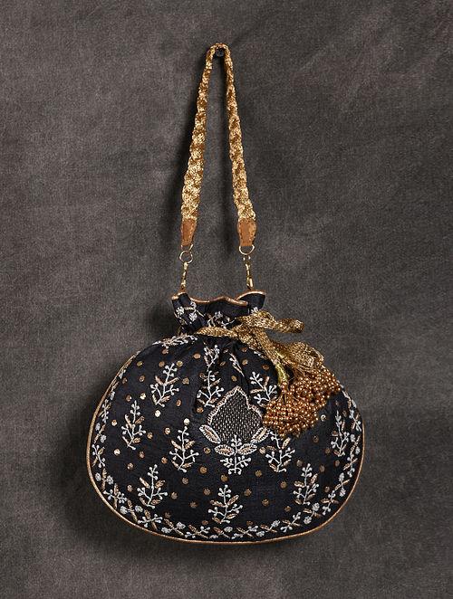 Black Handcrafted Chikankari Mukaish Silk Potli