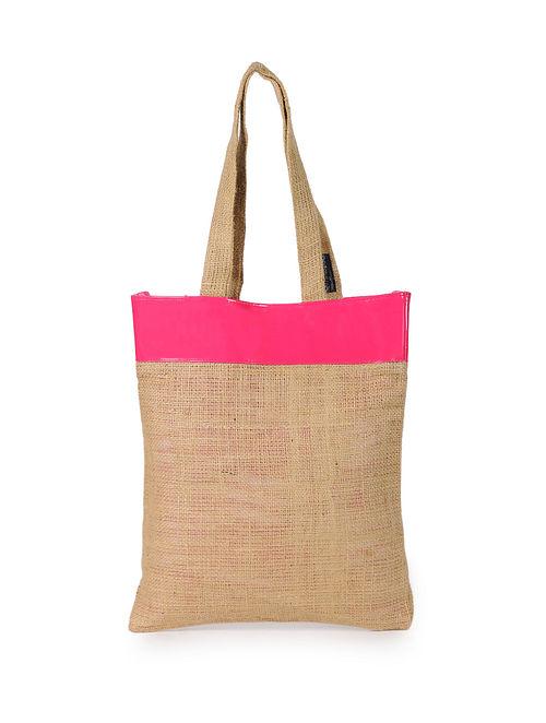Pink Handcrafted Jute Tote Bag