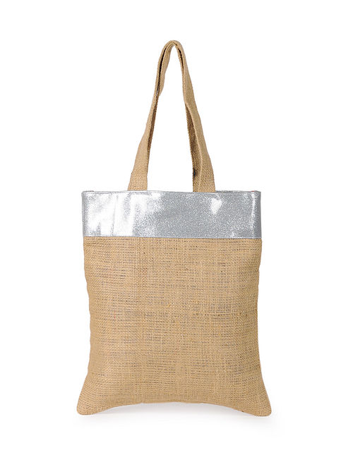 Silver Handcrafted Jute Tote Bag