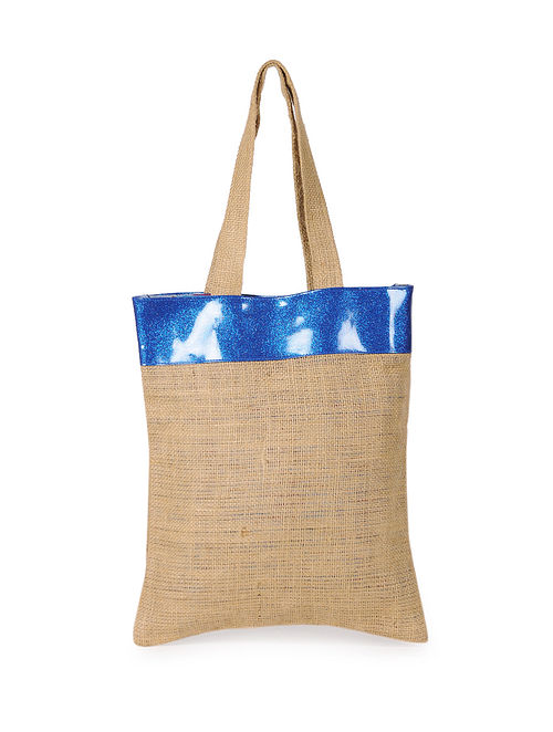 Blue Handcrafted Jute Tote Bag