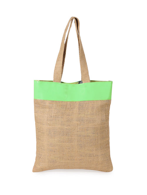 Lime Green Handcrafted Jute Tote Bag