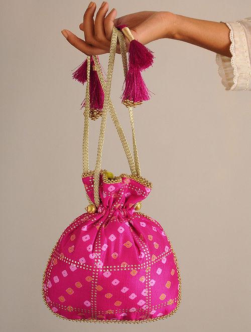 Pink Handcrafted Bandhani Potli