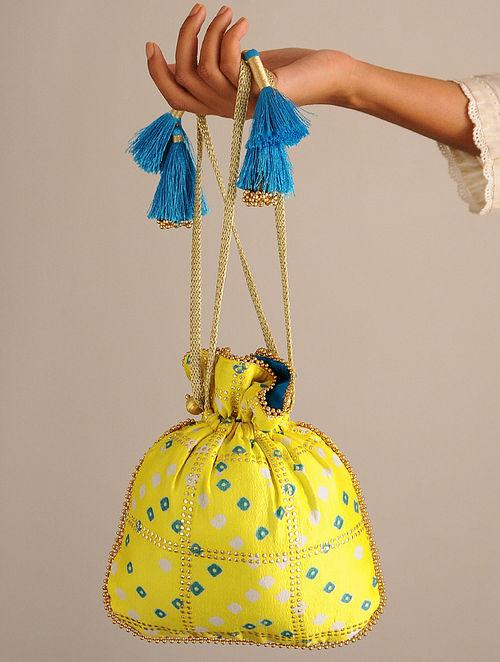 Yellow Handcrafted Bandhani Potli