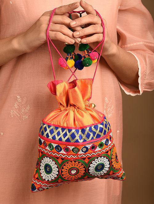 Orange Handcrafted Rabari Dupion Silk Potli