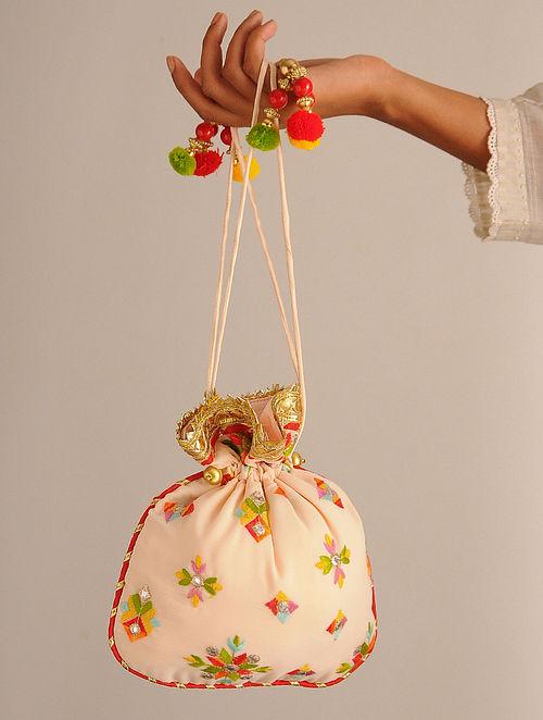 Multicolored Handcrafted Georgette Potli
