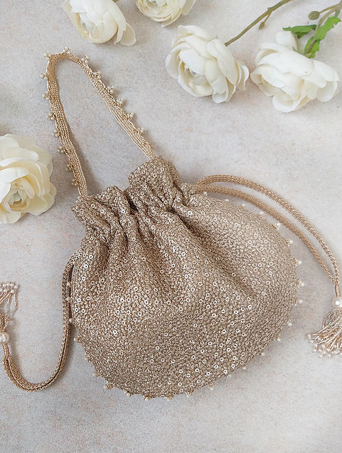 Rose Gold Embroidered Sequinned Net Potli