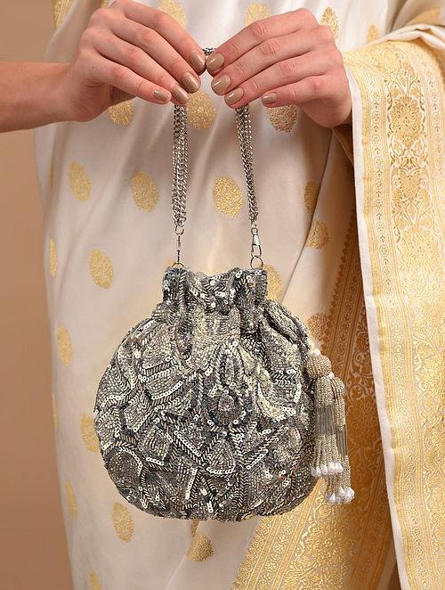 Silver Handcrafted Sequinned Raw Silk Potli