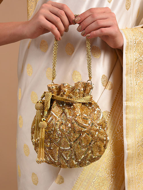Gold Handcrafted Sequinned Raw Silk Potli