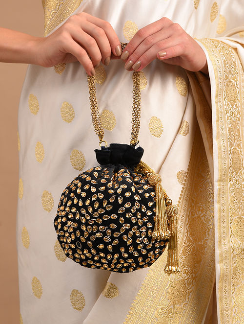Black Gold Handcrafted Embellished Velvet Potli