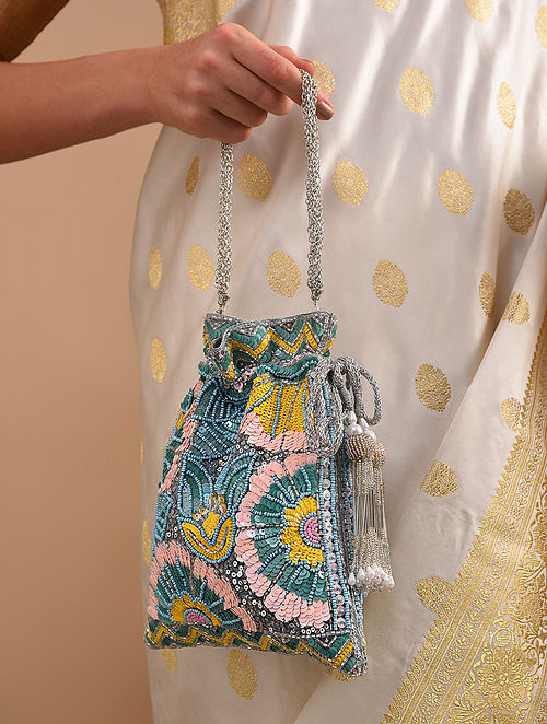 Blue Handcrafted Sequinned Raw Silk Potli