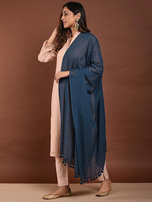 Blue Handloom Cotton Dupatta with Tassels