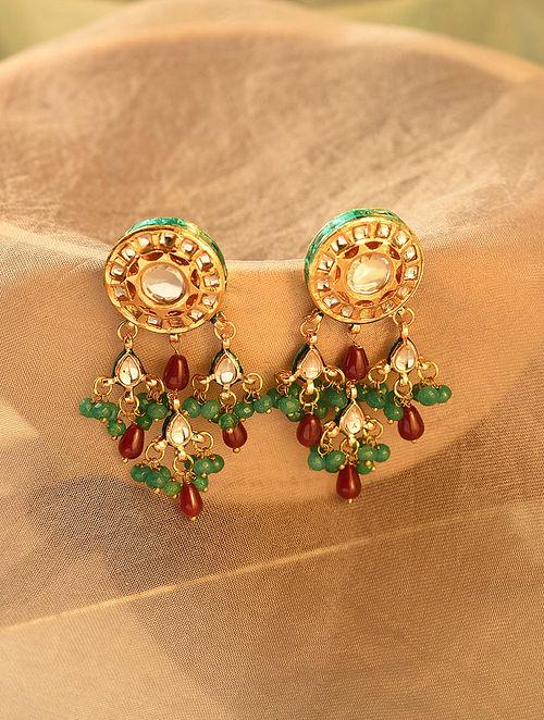 Maroon Green Gold Tone Kundan Earrings