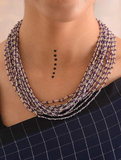 Onyx Beaded Silver Necklace