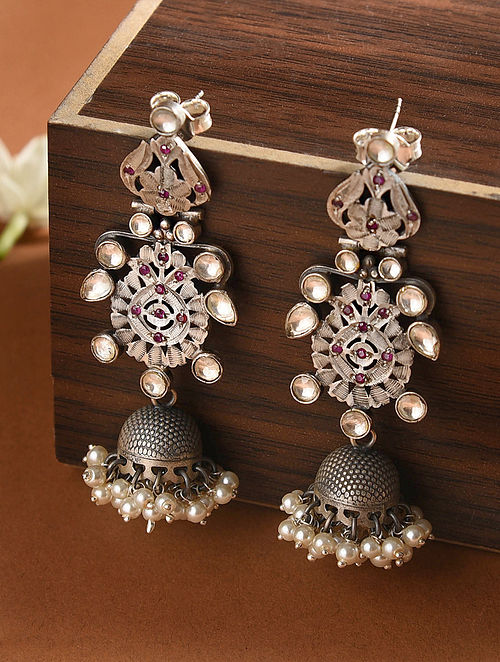 Kundan-inspired Silver Jhumkis with Fresh Water Pearls