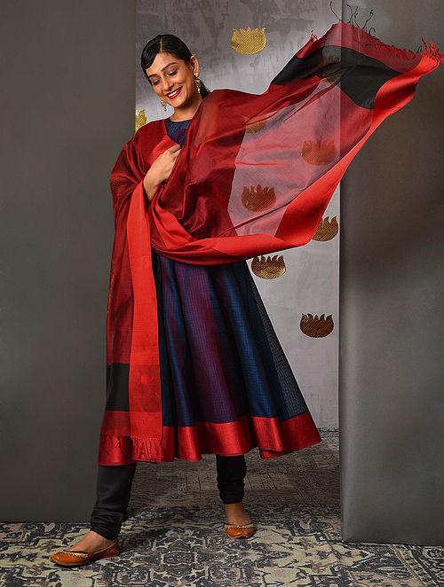 Red-Black Handloom Maheshwari Dupatta