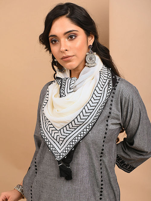 Ivory Cotton Embroidered Scarf with Beads and Tassels