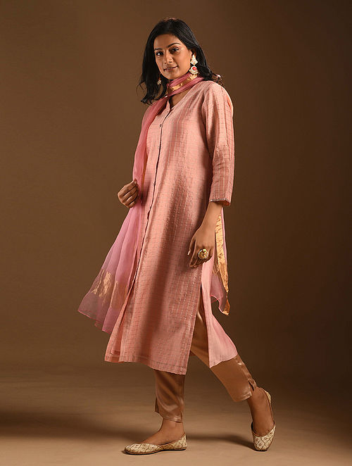 NOORI - Pink Silk Cotton Kurta with Zari