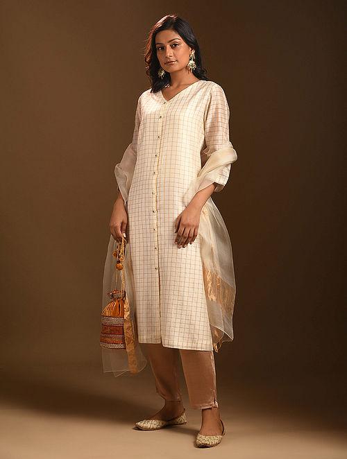 SAYONEE - Ivory Silk Cotton Kurta with Zari